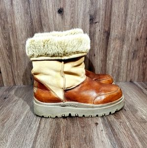 Skechers Outdoor Womens Sherpa Leather Boots